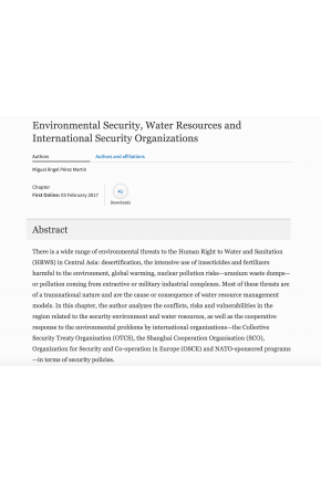 "Environmental Security, Water Resources and International Security Organizations (Chapter in ""Security and Human Right to Water in Central Asia"")"