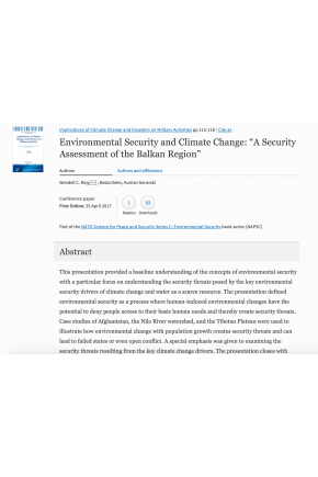 "Environmental Security and Climate Change: ""A Security Assessment of the Balkan Region"" (a chapter in ""Implications of Climate Change and Disasters on Military Activities"")"