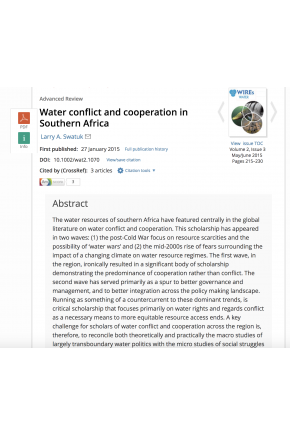 Water Conflict and Cooperation in Southern Africa