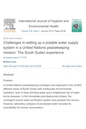 Challenges in Setting up a Potable Water Supply System in a United Nations Peacekeeping Mission: The South Sudan Experience