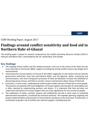 Findings around Conflict Sensitivity and Food Aid in Northern Bahr el-Ghazal
