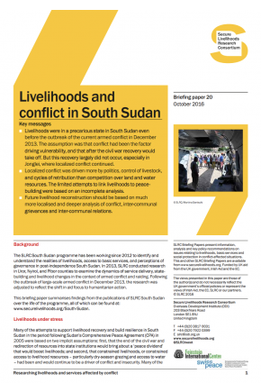 Livelihoods and Conflict in South Sudan