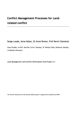Conflict Management Processes for Land-Related Conflict