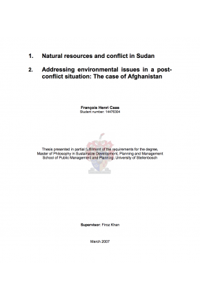 Natural Resources and Conflict in Sudan: Addressing Environmental Issues in a Post-conflict Situation: The Case of Afghanistan