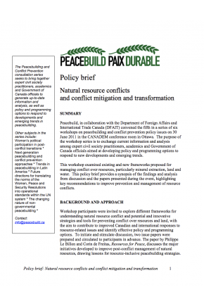 Natural Resource Conflicts and Conflict Mitigation and Transformation