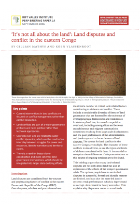 It's Not All about the Land': Land Disputes and Conflict in the Eastern Congo