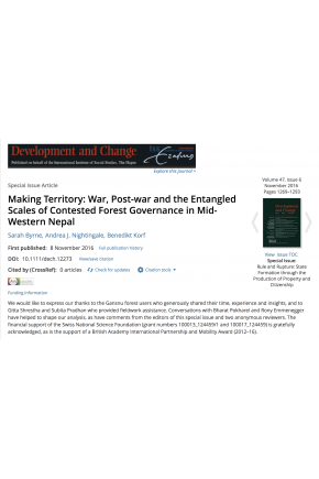 Making Territory: War, Post-war and the Entangled Scales of Contested Forest Governance in Mid-Western Nepal