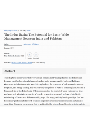 The Indus Basin: The Potential for Basin-Wide Management between India and Pakistan