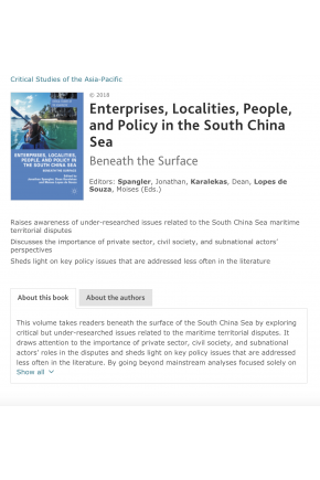 "Science Diplomacy and Dispute Management in the South China Sea (Chapter in ""Enterprises, Localities, People, and Policy in the South China Sea: Beneath the Surface"")"