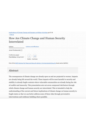 "How Are Climate Change and Human Security Interrelated (Chapter in ""Implications of Climate Change and Disasters on Military Activities"")"