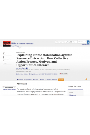 Explaining Ethnic Mobilization against Resource Extraction: How Collective Action Frames, Motives, and Opportunities Interact