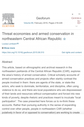 Threat Economies and Armed Conservation in Northeastern Central African Republic