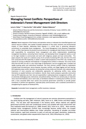 Managing Forest Conflicts: Perspectives of Indonesia's Forest Management Unit Directors