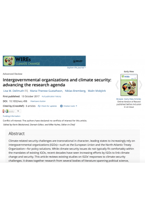 Intergovernmental Organizations and Climate Security: Advancing the Research Agenda