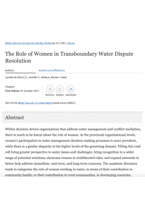 The Role of Women in Transboundary Water Dispute Resolution