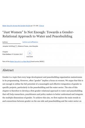 """Just Women"" Is Not Enough: Towards a Gender-Relational Approach to Water and Peacebuilding"