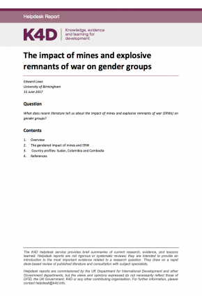 The Impact of Mines and Explosive Remnants of War on Gender Groups