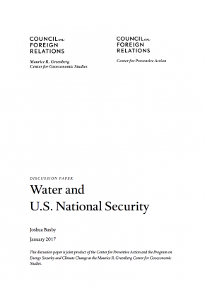Discussion Paper: Water and U.S. National Security
