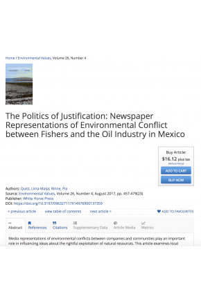 The Politics of Justification: Newspaper Representations of Environmental Conflict between Fishers and the Oil Industry in Mexico