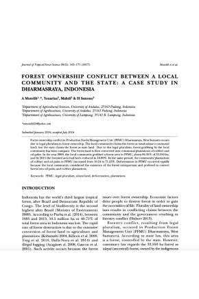Forest Ownership Conflict between a Local Community and the State: A Case Study in Dharmasraya, Indonesia