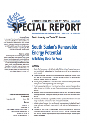South Sudan's Renewable Energy Potential: A Building Block for Peace