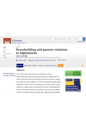 Peacebuilding and Pasture Relations in Afghanistan
