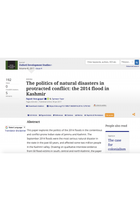 The Politics of Natural Disasters in Protracted Conflict: The 2014 Flood in Kashmir