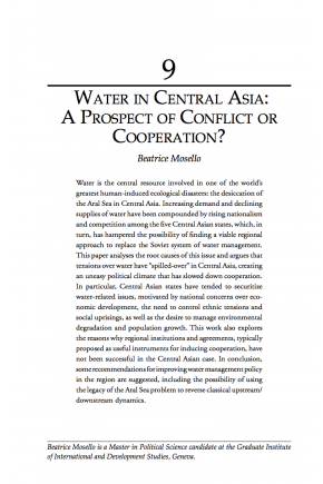 Water in Central Asia: A Prospect of Conflict or Cooperation