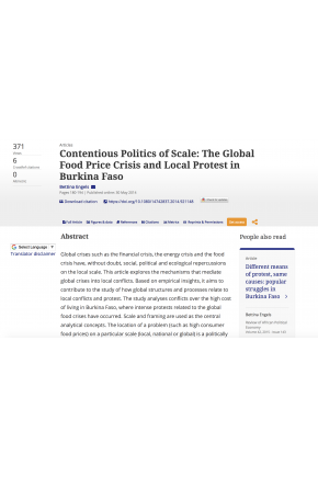 Contentious Politics of Scale: The Global Food Price Crisis and Local Protest in Burkina Faso