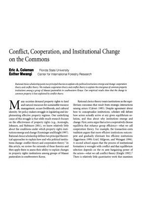 Conflict, Cooperation, and Institutional Change on the Commons