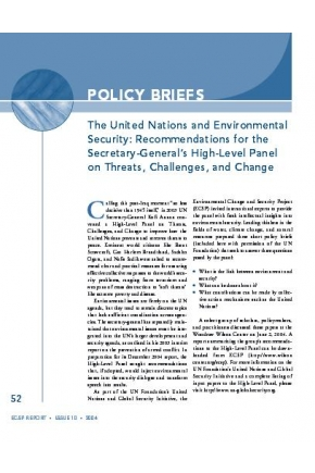 The United Nations and Environmental Security: Recommendations for the Secretary-General's High-Level Panel on Threats, Challenges, and Change