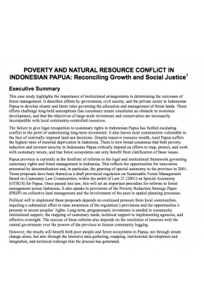Poverty and Natural Resource Conflict in Indonesian Papua: Reconciling Growth and Social Justice