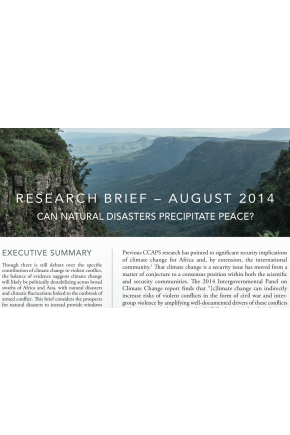 Can Natural Disasters Precipitate Peace?