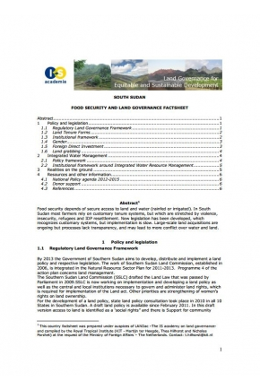 South Sudan Food Security and Land Governance Factsheet