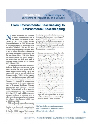 From Environmental Peacemaking to Environmental Peacekeeping