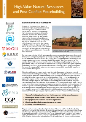 Policy Brief 1: High-Value Natural Resources and Post-Conflict Peacebuilding