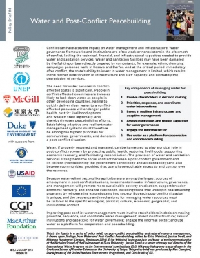 Policy Brief 4: Water and Post-Conflict Peacebuilding
