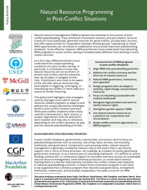 Policy Brief 8: Natural Resource Programming in Post-Conflict Situations